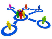 Social network community. 3d render of social network community connected with circles and lines with people in them Royalty Free Stock Images