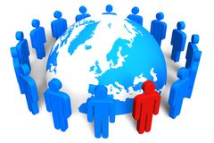 Social network concept. Circle of blue abstract human figures with red one around blue Earth globe isolated over white background royalty free illustration