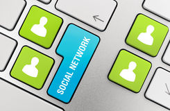 Social Network Concept. On modern aluminium keyboard Royalty Free Stock Image