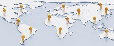 Social network concept. People with links over earth map Royalty Free Stock Photo