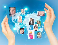 Social network concept. Real photos on the background virtual interface Royalty Free Stock Photos