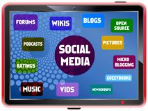 Social network concept. Social media and network concept, on a fictional tablet Pc Stock Photos