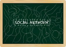 Social network concept. Written on a blackboard Stock Images