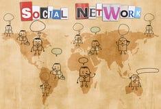 Social network concept. Canvas texture background Royalty Free Stock Photos