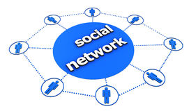 Social Network Concept. With central sign and blue icon of people connected by dotted lines on white background Stock Photo