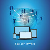 Social Network Concept. People All Around the Globe Connected Through the Network - Blue Abstract Social Network Concept Design - Illustration in Freely Scalable Royalty Free Stock Image