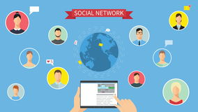 Social network concept animation stock footage