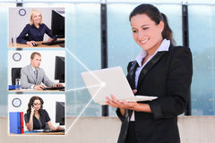 Social network concept - business woman and her partners Stock Photography