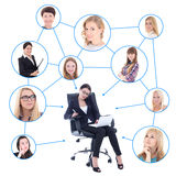 Social network concept - business woman with laptop Stock Image