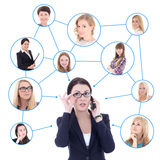 Social network concept - business woman with mobile phone Royalty Free Stock Image