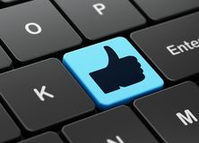 Social network concept: Thumb Up on computer keyboard background. Social network concept: computer keyboard with Thumb Up icon on enter button background, 3D Royalty Free Stock Photography