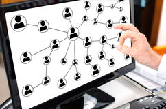 Social network concept on a computer monitor Stock Photography