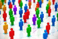 Social network concept. Creative abstract social networking, internet web media communication, teamwork and partnership corporate business concept: macro view of Stock Image