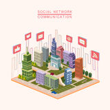Social network concept 3d isometric infographic Stock Photos