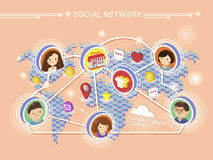 Social network concept 3d isometric infographic Stock Photo