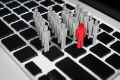 Social network concept. With 3d rendering group of people on keyboard Royalty Free Stock Photography