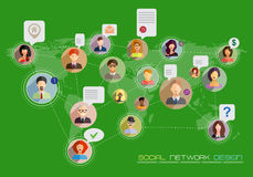 Social network concept. Flat design for web sites and infographi Stock Photo