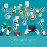 Social network concept. Flat design for web sites and infographi Royalty Free Stock Images