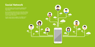 Social network concept. Flat style concept banner, social network, internet communication Royalty Free Stock Photography