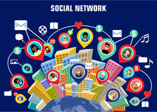 Free Social Network Concept. Flat Style. Infographic Design. Royalty Free Stock Photos - 58056248