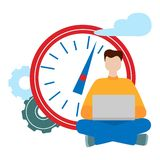 Social network concept. Freelance remote work. Working man sitting with a computer. vector illustration