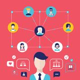 Social network concept Global communication infographic elements. Illustration Stock Image