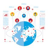 Social network concept  Global communication infographic elements. Vector illustration Royalty Free Stock Photography