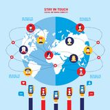 Social network concept  Global communication infographic elements. Vector illustration Royalty Free Stock Photos
