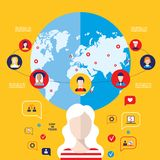 Social network concept  Global communication infographic elements Royalty Free Stock Images