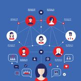 Social network concept Global communication infographic elements. Vector illustration Royalty Free Stock Photo