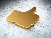 Social network concept: Golden Like on digital. Background, 3d render Royalty Free Stock Photos
