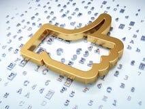Social network concept: Golden Like on digital. Background, 3d render Royalty Free Stock Photos