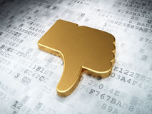 Social network concept: Golden Thumb Down on digital background Stock Photos