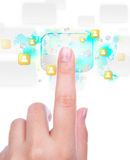 Social Network concept : hand point to social network Stock Photography