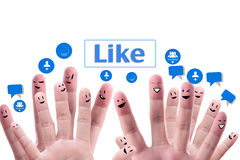 Social network concept of Happy group of fingerf Royalty Free Stock Photography