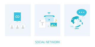 Social network concept icon set Stock Images
