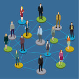 Social network concept. Illustration of society members with men and women. Flat design vector illustration Royalty Free Stock Photo