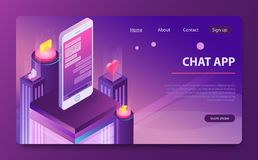 Social network concept. Chat messages notification in smartphone. Isometric messenger app. stock illustration