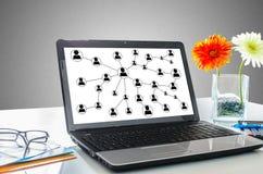 Social network concept on a laptop screen Stock Photography