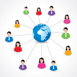 Social network concept with male and female icons around earth royalty free illustration