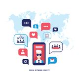 Social network concept  Mobile smart phone with speech bubbles and business icons Infographic elements. Vector illustration Royalty Free Stock Image