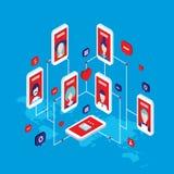 Social network concept Modern flat isometric design vector illustration