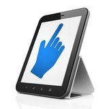 Social network concept: Mouse Cursor on tablet pc. Social network concept: black tablet pc computer with Mouse Cursor icon on display. Modern portable touch pad Royalty Free Stock Image