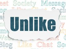 Social network concept: Unlike on Torn Paper background. Social network concept: Painted blue text Unlike on Torn Paper background with  Tag Cloud Stock Photo