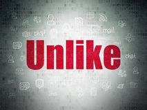 Social network concept: Unlike on Digital Data Paper background. Social network concept: Painted red text Unlike on Digital Data Paper background with  Hand Royalty Free Stock Photography