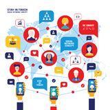 Social network concept People avatars mobile smart phones business icons for web. Vector illustration Royalty Free Stock Photos