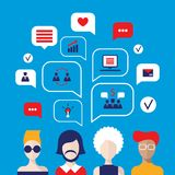 Social network concept People avatars with speech bubbles. And business icons for web Vector illustration Stock Photography