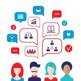 Social network concept People avatars with speech bubbles. And business icons for web Vector illustration Royalty Free Stock Image