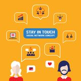 Social network concept People avatars with speech bubbles. And business icons for web Vector illustration Stock Photos
