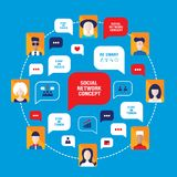 Social network concept People avatars with speech bubbles. And business icons for web Vector illustration Royalty Free Stock Photos